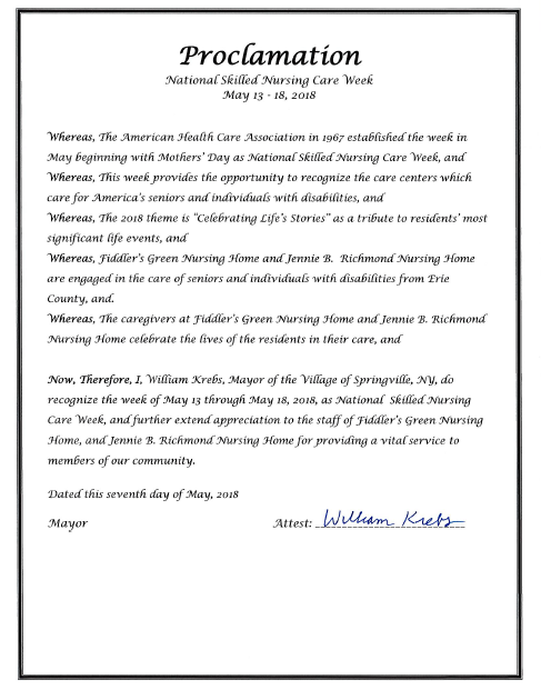 national skilled nursing week and village of springville